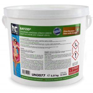 Seau 5 Kg de galets de chlore lent stabilisé 200g BAYZID 427220276 pot