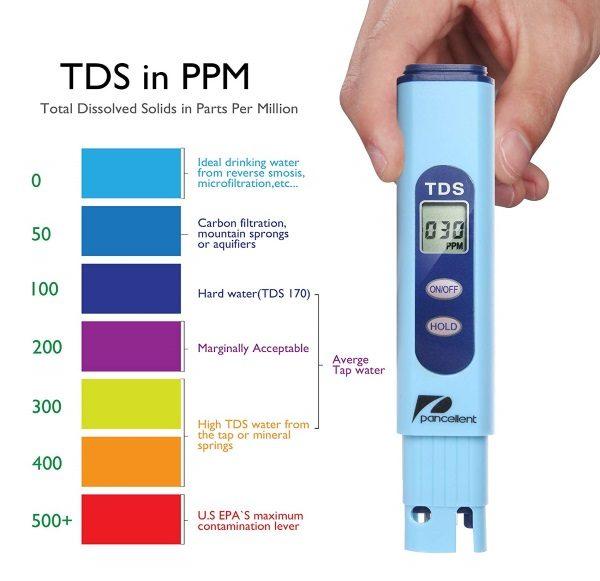 Testeur eau électronique piscine pH sel TDS PANCELLENT couleurs clair