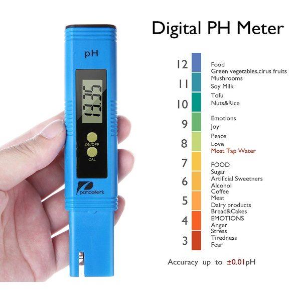 Testeur eau électronique piscine pH sel TDS PANCELLENT couleurs échelle