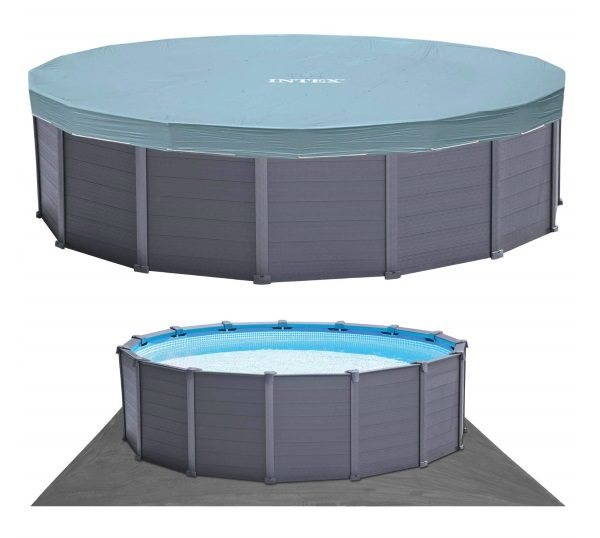 Piscine ronde graphite intex 26384GN tapis sol et bâche protection