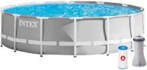 Piscine hors sol tubulaire avec échelle de sécurité, filtration eau, bâche et tapis fournis, entretien facile, couleur gris blanc INTEX Prism Frame top6