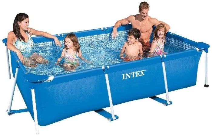Piscine tubulaire pas cher de forme rectangulaire pour famille et enfants, liner triple épaisseur et épurateur d'eau INTEX Metal Frame Junior top6